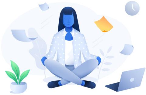 Web developer meditating